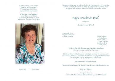 3734 Aagie Molenaar-Kwakman - rouwkaart